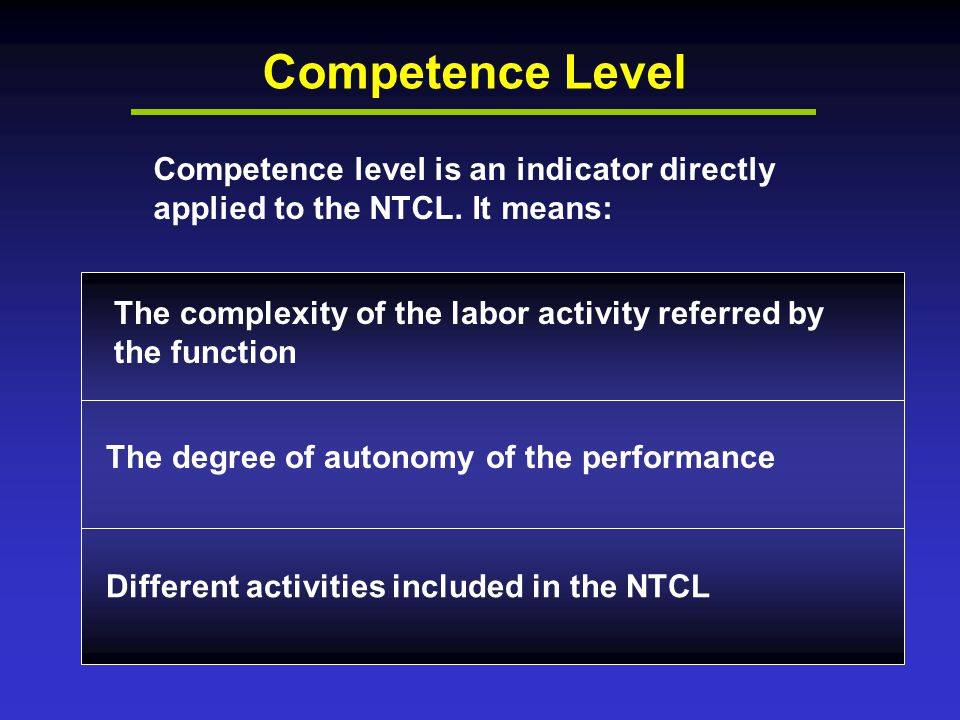 Competence Level Competence level is an indicator directly applied to the NTCL.