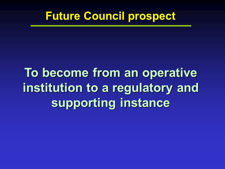 Future Council prospect To become from an operative institution to a regulatory and supporting instance