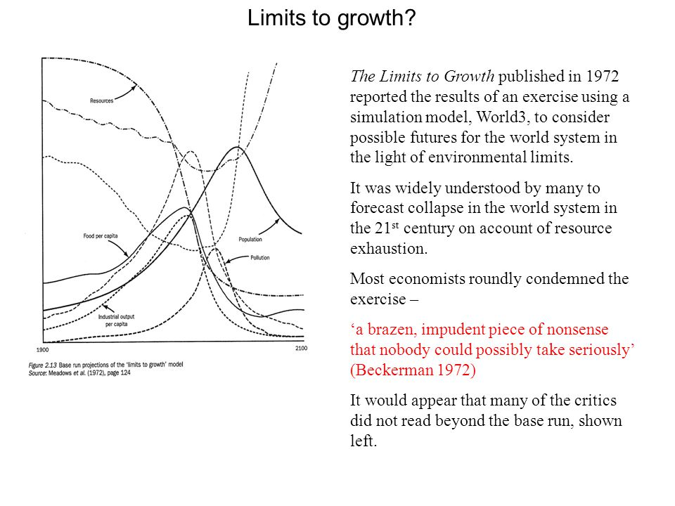 Limits to growth? The Limits to Growth published in 1972 reported the results of an exercise using a simulation model, World3, to consider possible fu