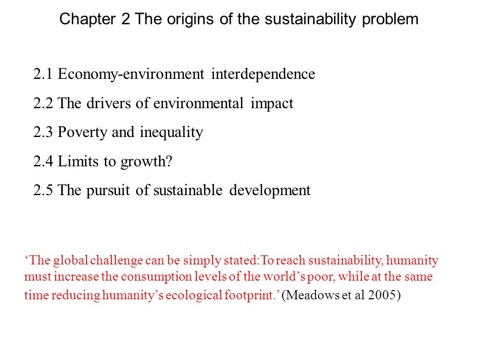 2.1 Economy-environment interdependence 2.2 The drivers of environmental impact 2.3 Poverty and inequality 2.4 Limits to growth? 2.5 The pursuit of su