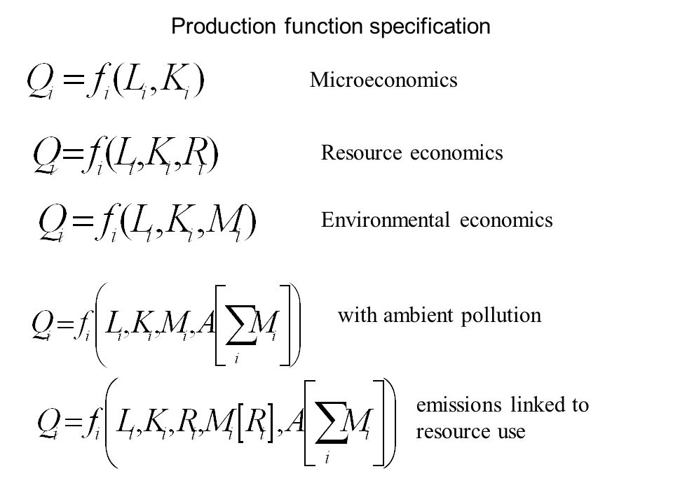 Production function specification Microeconomics Resource economics Environmental economics with ambient pollution emissions linked to resource use