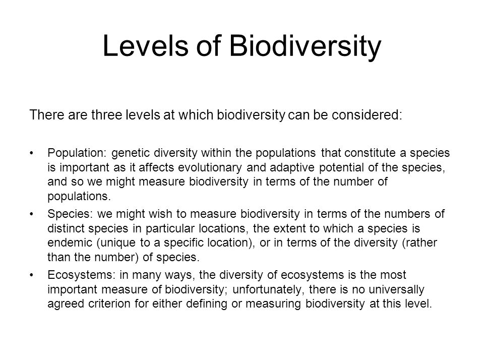 Levels of Biodiversity There are three levels at which biodiversity can be considered: Population: genetic diversity within the populations that const