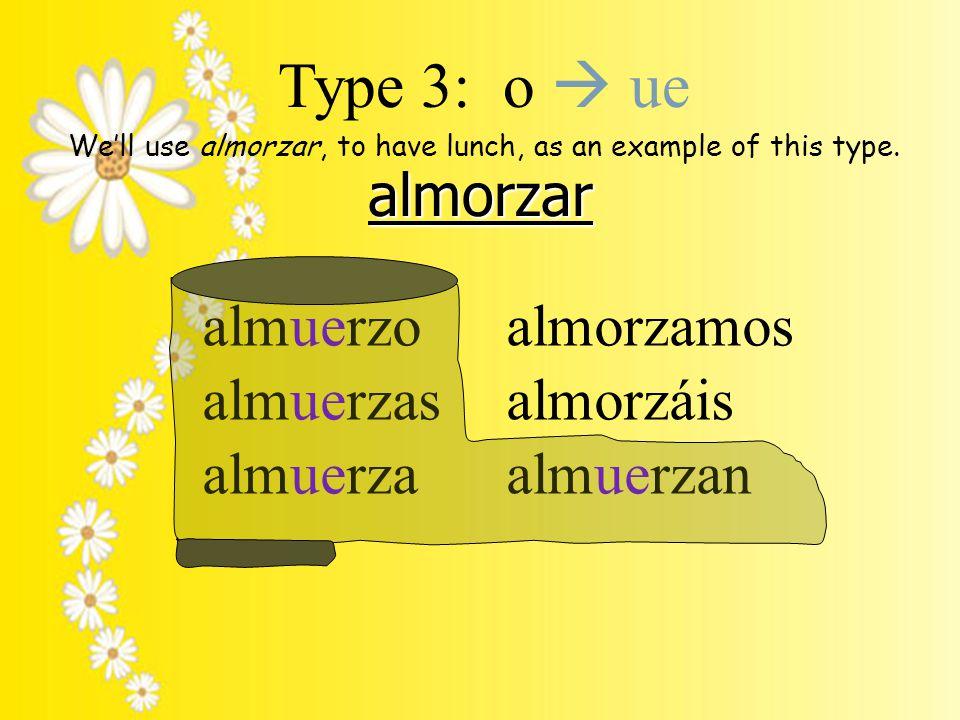 almorzar almuerzo almuerzas almuerza almorzamos almorzáis almuerzan Type 3: o  ue We'll use almorzar, to have lunch, as an example of this type.
