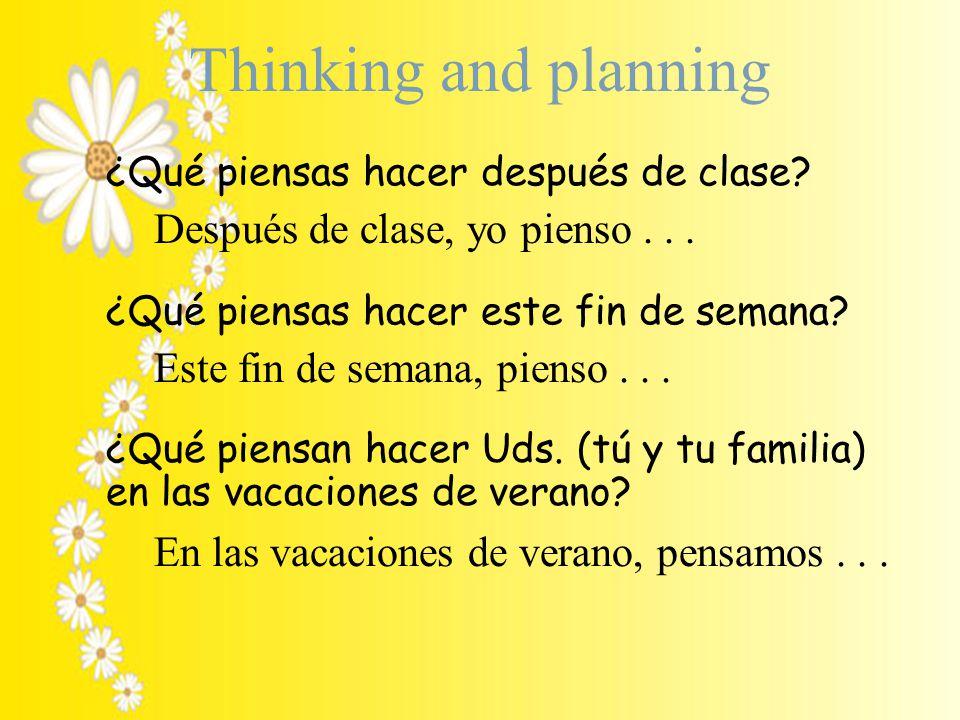 Thinking and planning ¿Qué piensas hacer después de clase.