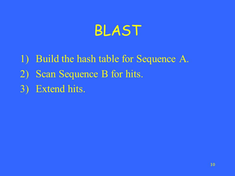 10 BLAST 1)Build the hash table for Sequence A. 2)Scan Sequence B for hits. 3)Extend hits.