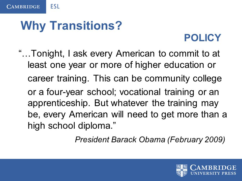 Why Transitions. ….there will be 2.7 million middle skill job openings for Californians.
