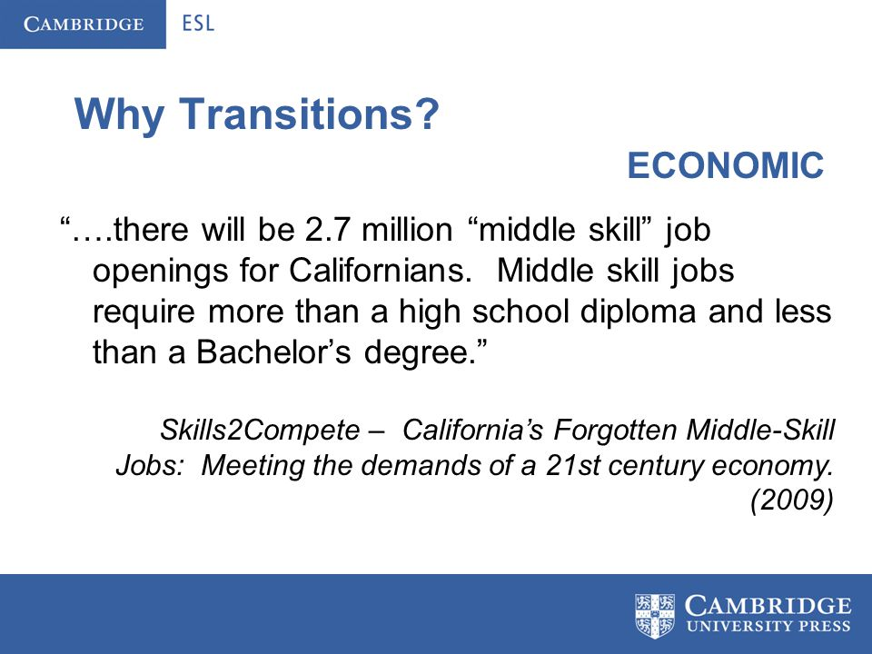 Why Transitions.Our programs need to prepare students for the future.