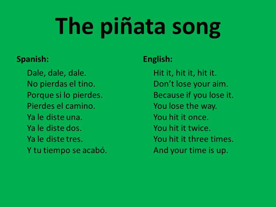 The piñata song Spanish: Dale, dale, dale. No pierdas el tino.