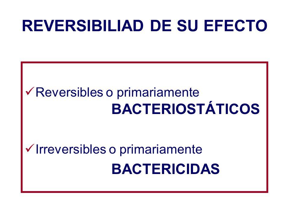 REVERSIBILIAD DE SU EFECTO Reversibles o primariamente BACTERIOSTÁTICOS Irreversibles o primariamente BACTERICIDAS
