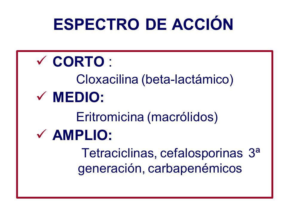 ESPECTRO DE ACCIÓN CORTO : Cloxacilina (beta-lactámico) MEDIO: Eritromicina (macrólidos) AMPLIO: Tetraciclinas, cefalosporinas 3ª generación, carbapen