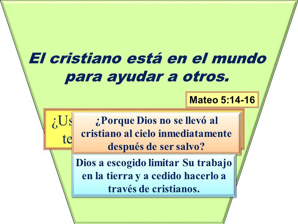 El cristiano está en el mundo para ayudar a otros.