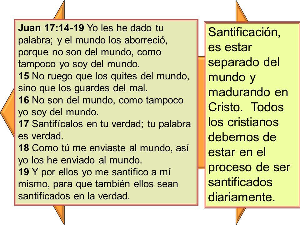 Juan 17:14-19 Yo les he dado tu palabra; y el mundo los aborreció, porque no son del mundo, como tampoco yo soy del mundo.