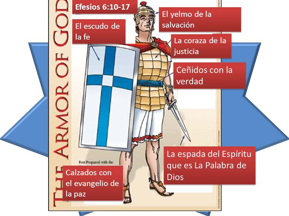 Efesios 6:10-17 El escudo de la fe La coraza de la justicia Ceñidos con la verdad La espada del Espíritu que es La Palabra de Dios Calzados con el evangelio de la paz El yelmo de la salvación