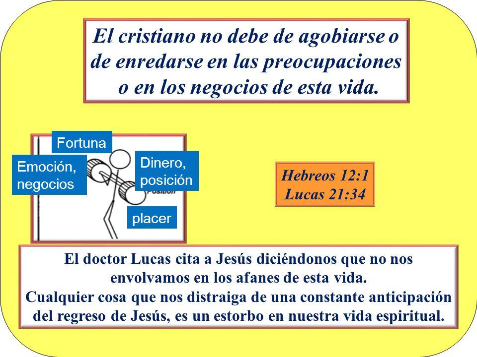 El cristiano no debe de agobiarse o de enredarse en las preocupaciones o en los negocios de esta vida.