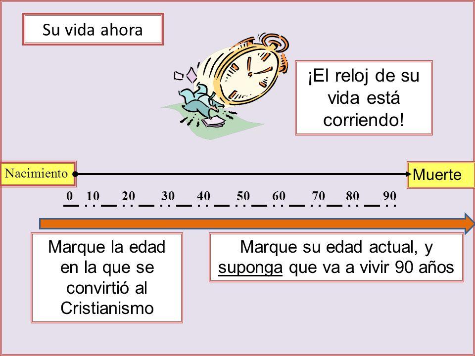Su vida ahora Nacimiento Muerte 0102030405060708090 Marque la edad en la que se convirtió al Cristianismo Marque su edad actual, y suponga que va a vivir 90 años ¡El reloj de su vida está corriendo!