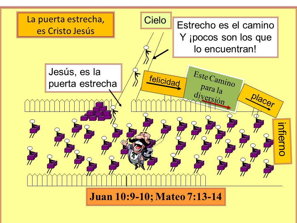 La puerta estrecha, es Cristo Jesús Este Camino para la diversión placer Cielo infierno Jesús, es la puerta estrecha Estrecho es el camino Y ¡pocos son los que lo encuentran.