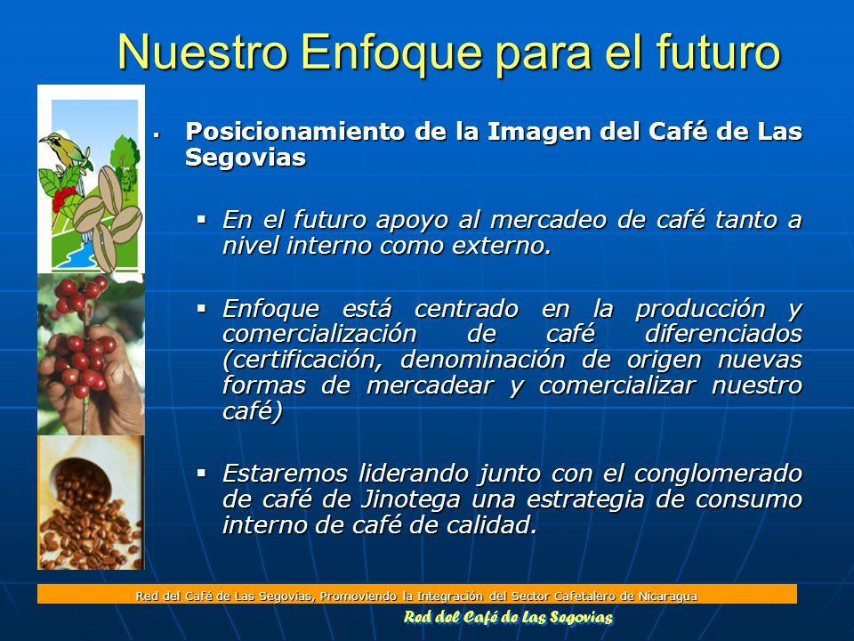 Red del Café de Las Segovias, Promoviendo la Integración del Sector Cafetalero de Nicaragua Nuestro Enfoque para el futuro  Posicionamiento de la Imagen del Café de Las Segovias  En el futuro apoyo al mercadeo de café tanto a nivel interno como externo.