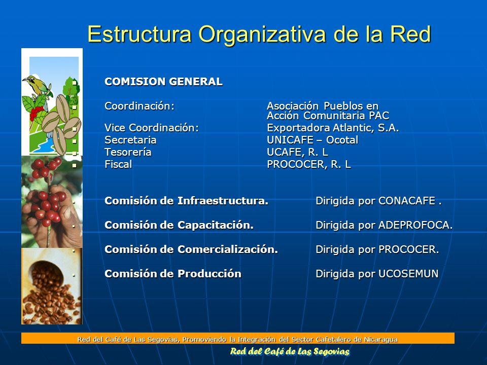 Red del Café de Las Segovias, Promoviendo la Integración del Sector Cafetalero de Nicaragua COMISION GENERAL COMISION GENERAL Coordinación:Asociación Pueblos en Acción Comunitaria PAC Coordinación:Asociación Pueblos en Acción Comunitaria PAC Vice Coordinación:Exportadora Atlantic, S.A.
