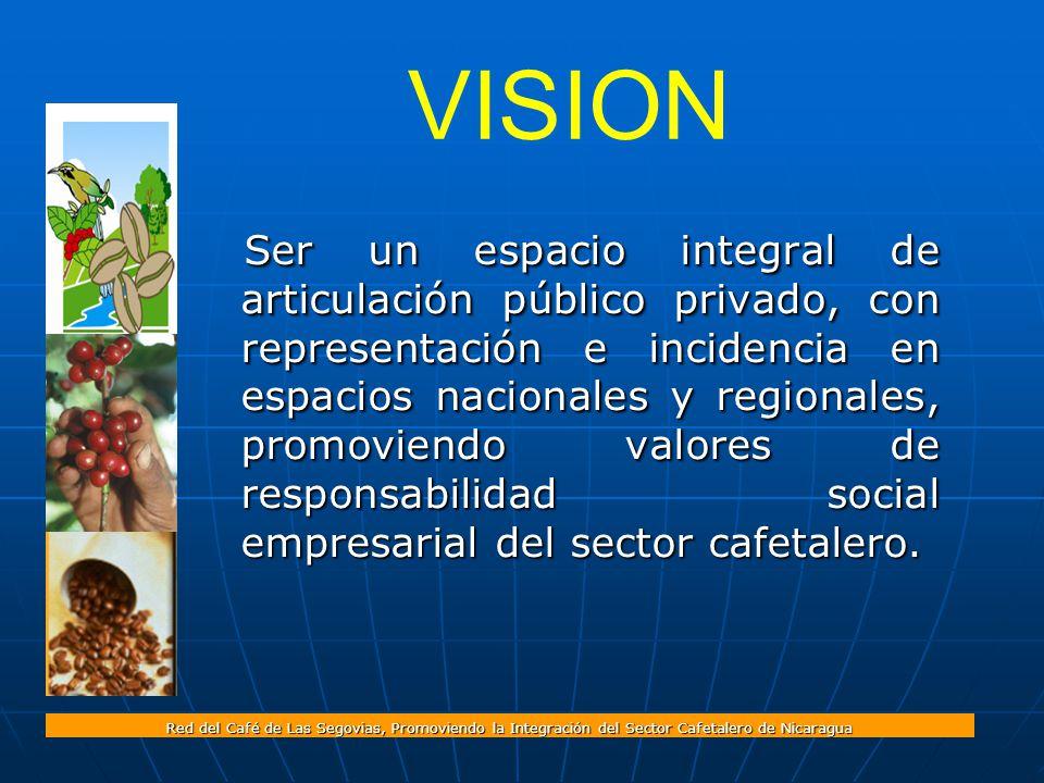 Red del Café de Las Segovias, Promoviendo la Integración del Sector Cafetalero de Nicaragua VISION Ser un espacio integral de articulación público privado, con representación e incidencia en espacios nacionales y regionales, promoviendo valores de responsabilidad social empresarial del sector cafetalero.