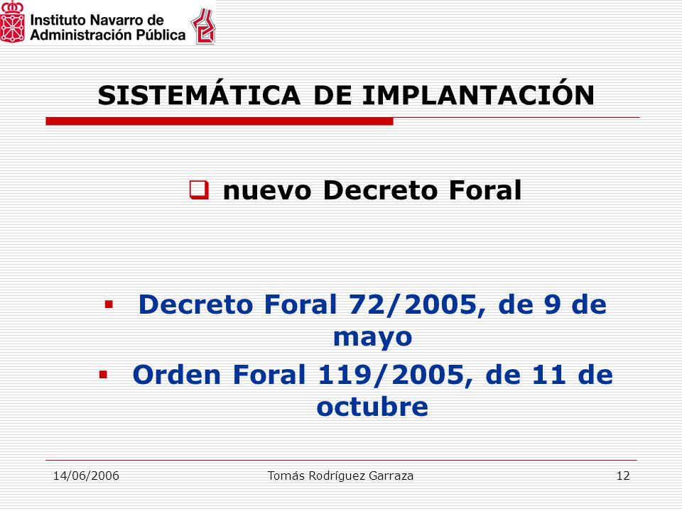 14/06/2006Tomás Rodríguez Garraza12 SISTEMÁTICA DE IMPLANTACIÓN  nuevo Decreto Foral  Decreto Foral 72/2005, de 9 de mayo  Orden Foral 119/2005, de 11 de octubre