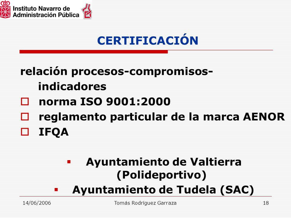14/06/2006Tomás Rodríguez Garraza18 CERTIFICACIÓN relación procesos-compromisos- indicadores  norma ISO 9001:2000  reglamento particular de la marca AENOR  IFQA  Ayuntamiento de Valtierra (Polideportivo)  Ayuntamiento de Tudela (SAC)