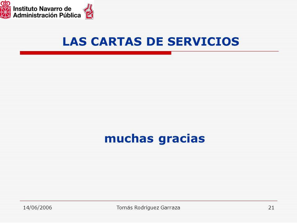 14/06/2006Tomás Rodríguez Garraza21 LAS CARTAS DE SERVICIOS muchas gracias