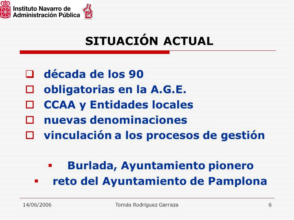 14/06/2006Tomás Rodríguez Garraza6 SITUACIÓN ACTUAL  década de los 90  obligatorias en la A.G.E.