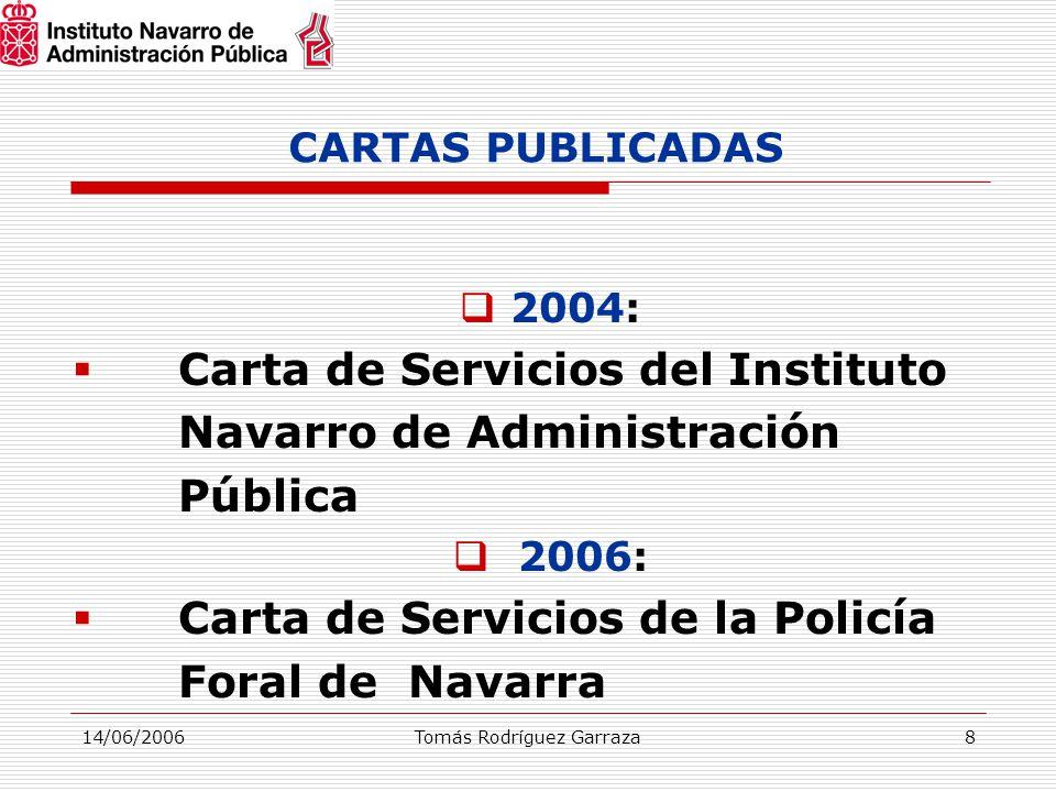 14/06/2006Tomás Rodríguez Garraza8 CARTAS PUBLICADAS  2004:  Carta de Servicios del Instituto Navarro de Administración Pública  2006:  Carta de Servicios de la Policía Foral de Navarra