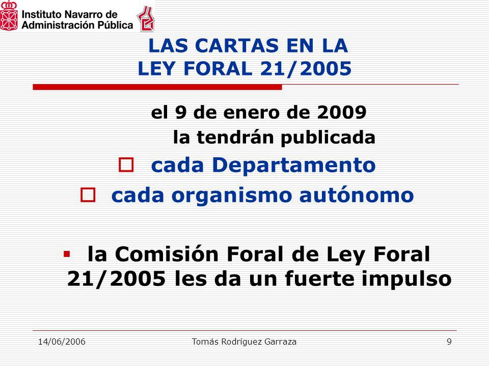 14/06/2006Tomás Rodríguez Garraza9 LAS CARTAS EN LA LEY FORAL 21/2005 el 9 de enero de 2009 la tendrán publicada  cada Departamento  cada organismo autónomo  la Comisión Foral de Ley Foral 21/2005 les da un fuerte impulso