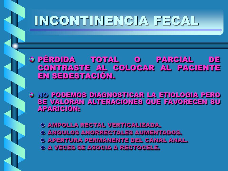 PÉRDIDA TOTAL O PARCIAL DE CONTRASTE AL COLOCAR AL PACIENTE EN SEDESTACIÓN.