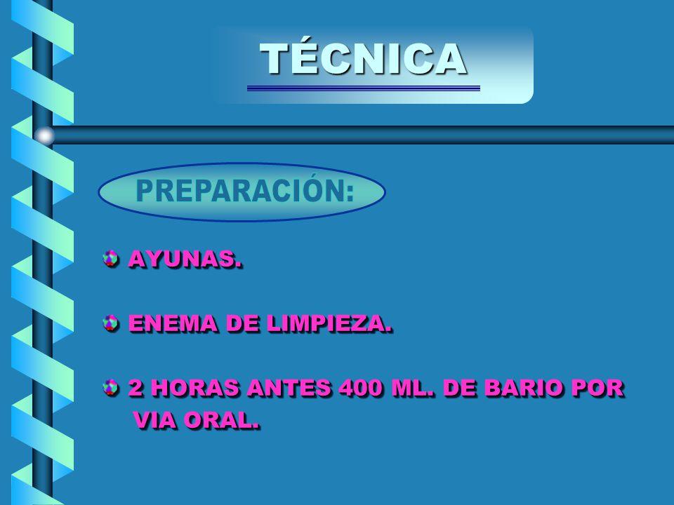 AYUNAS. ENEMA DE LIMPIEZA. 2 HORAS ANTES 400 ML.