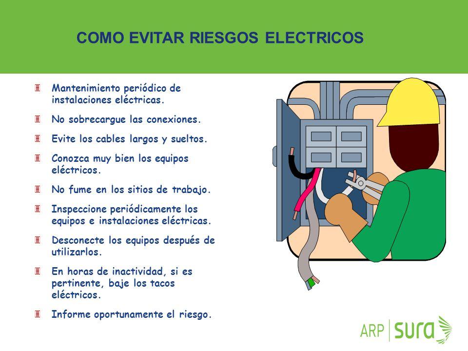 ARP SURA 3Mantenimiento periódico de instalaciones eléctricas. 3No sobrecargue las conexiones. 3Evite los cables largos y sueltos. 3Conozca muy bien l
