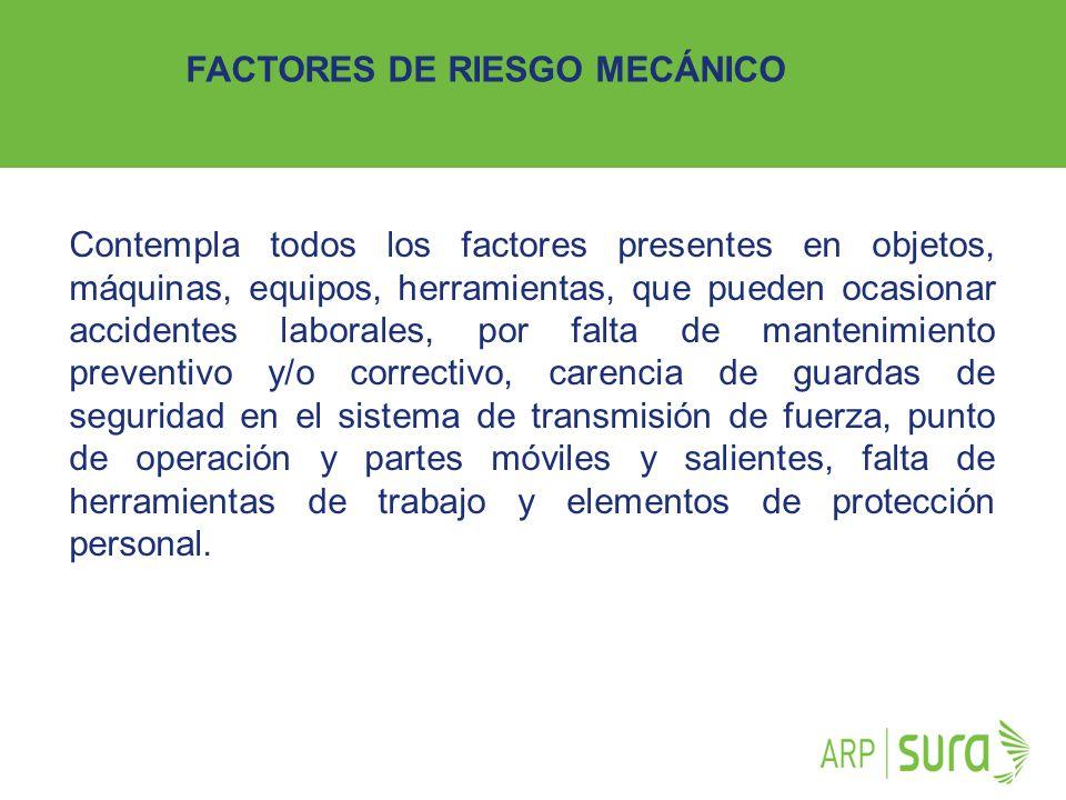 ARP SURA Contempla todos los factores presentes en objetos, máquinas, equipos, herramientas, que pueden ocasionar accidentes laborales, por falta de m