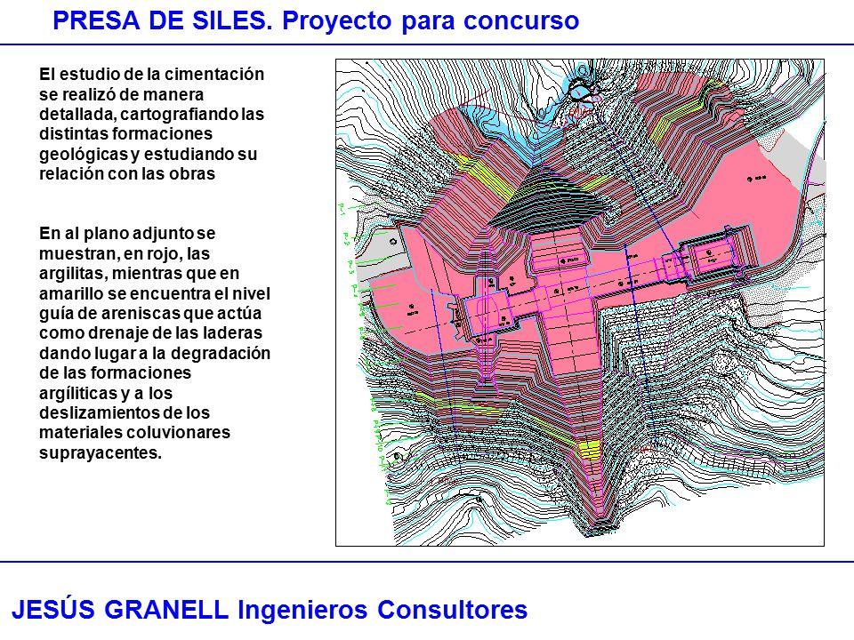 JESÚS GRANELL Ingenieros Consultores PRESA DE SILES. Proyecto para concurso El estudio de la cimentación se realizó de manera detallada, cartografiand