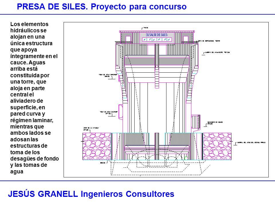 JESÚS GRANELL Ingenieros Consultores PRESA DE SILES. Proyecto para concurso Los elementos hidráulicos se alojan en una única estructura que apoya ínte