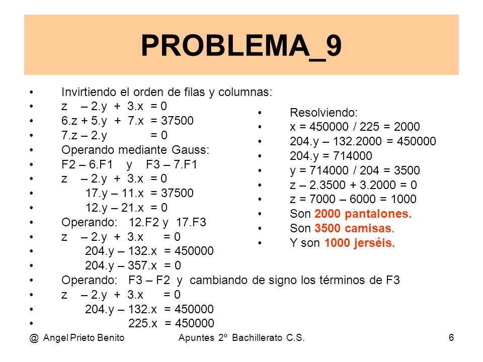 @ Angel Prieto BenitoApuntes 2º Bachillerato C.S.6 Invirtiendo el orden de filas y columnas: z – 2.y + 3.x = 0 6.z + 5.y + 7.x = 37500 7.z – 2.y = 0 Operando mediante Gauss: F2 – 6.F1 y F3 – 7.F1 z – 2.y + 3.x = 0 17.y – 11.x = 37500 12.y – 21.x = 0 Operando: 12.F2 y 17.F3 z – 2.y + 3.x = 0 204.y – 132.x = 450000 204.y – 357.x = 0 Operando: F3 – F2 y cambiando de signo los términos de F3 z – 2.y + 3.x = 0 204.y – 132.x = 450000 225.x = 450000 PROBLEMA_9 Resolviendo: x = 450000 / 225 = 2000 204.y – 132.2000 = 450000 204.y = 714000 y = 714000 / 204 = 3500 z – 2.3500 + 3.2000 = 0 z = 7000 – 6000 = 1000 Son 2000 pantalones.