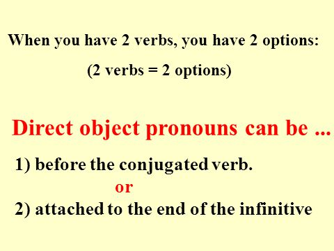 FIVE steps to direct object pronouns. 1. Find the verb 3.