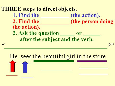You call your friend. THREE steps to direct objects.