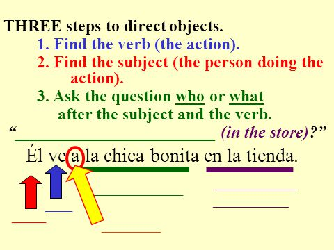 Llamas a tu amigo. ____ ____________ THREE steps to direct objects.
