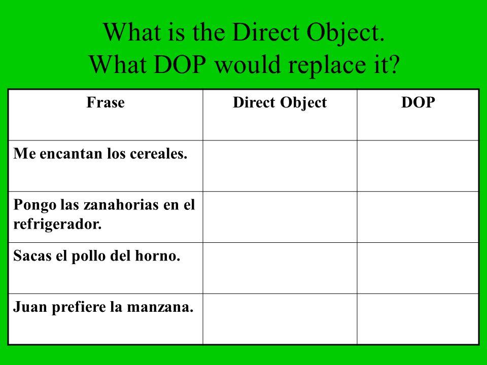 What is the Direct Object. What DOP would replace it? FraseDirect ObjectDOP Me encantan los cereales. Pongo las zanahorias en el refrigerador. Sacas e