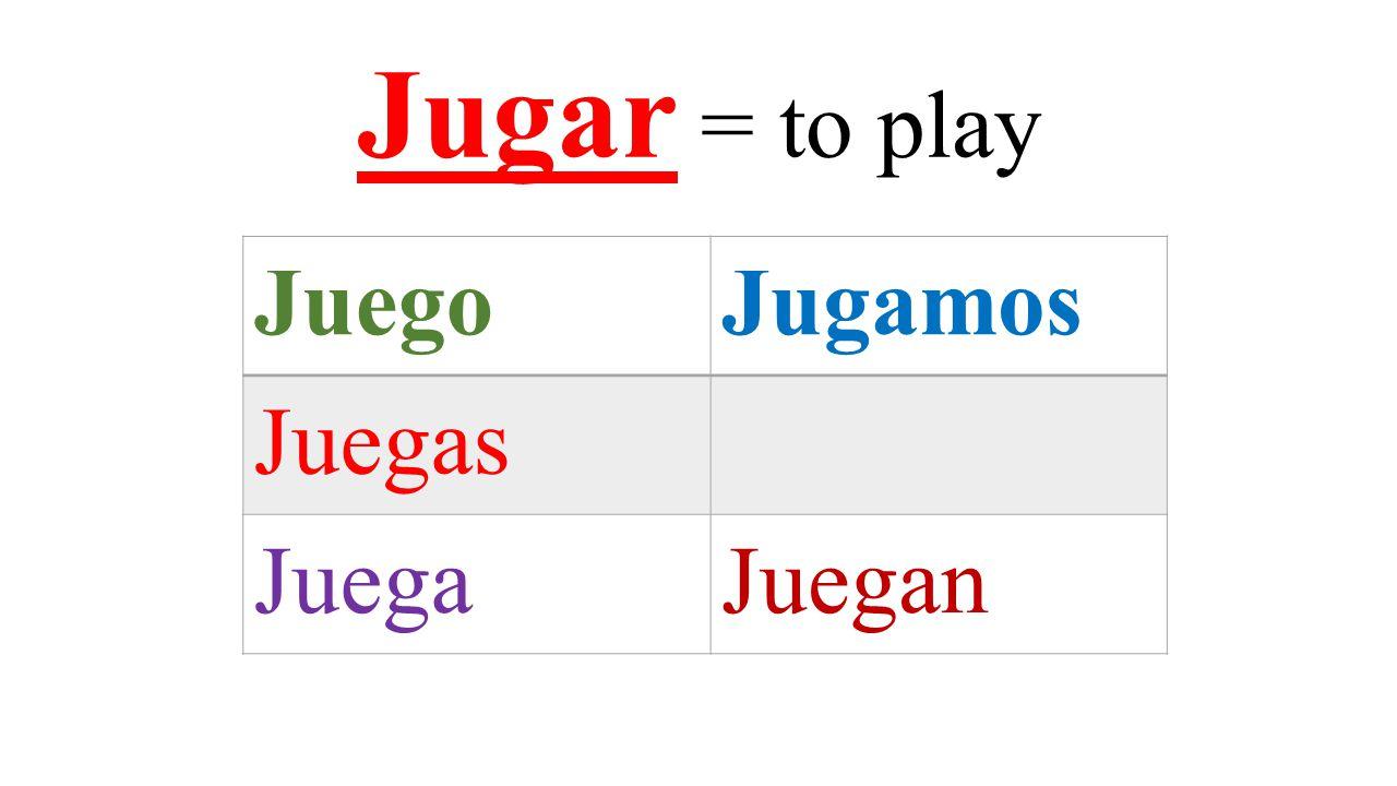 Jugar = to play JuegoJugamos Juegas JuegaJuegan
