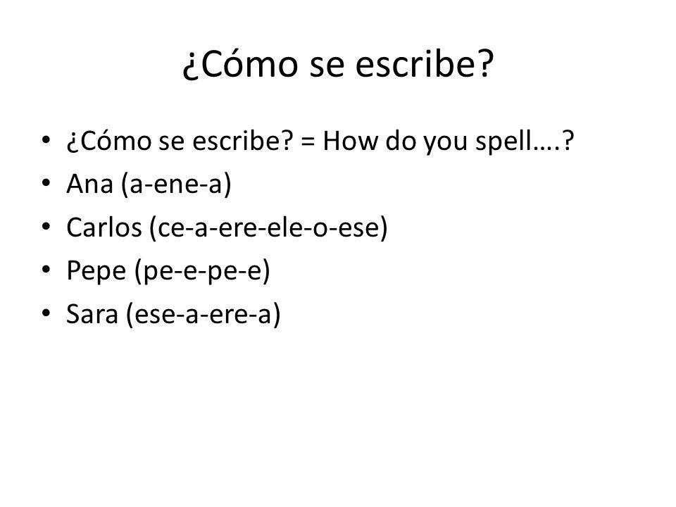 ¿Cómo se escribe? ¿Cómo se escribe? = How do you spell….? Ana (a-ene-a) Carlos (ce-a-ere-ele-o-ese) Pepe (pe-e-pe-e) Sara (ese-a-ere-a)