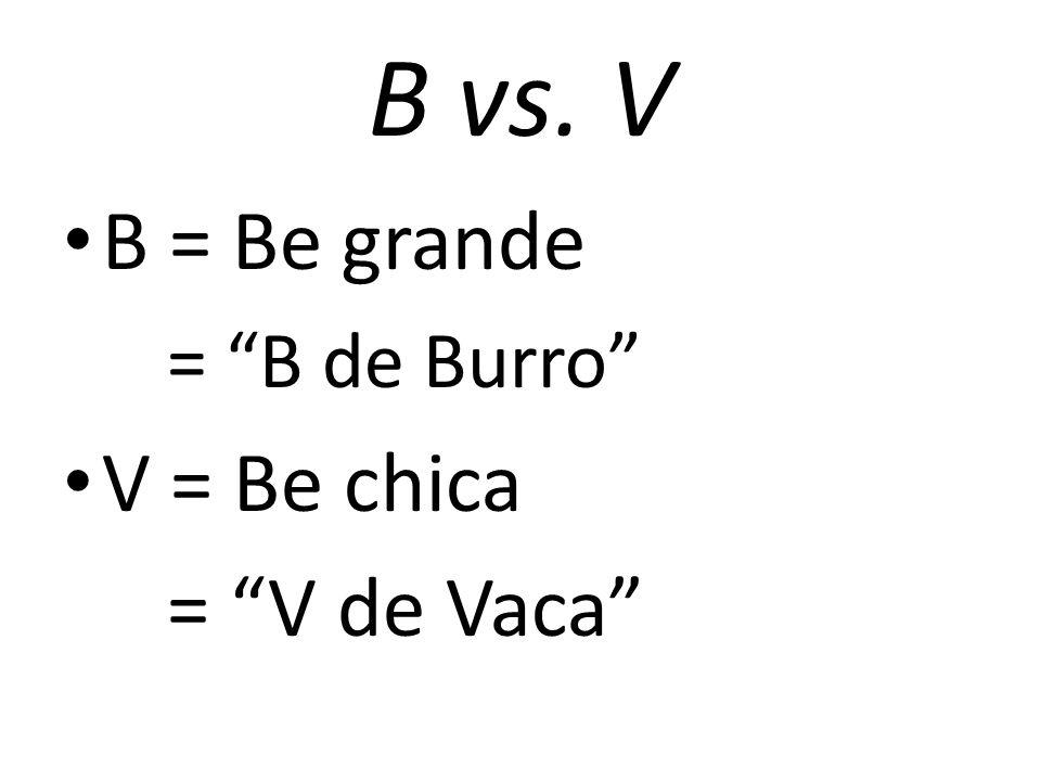 "B vs. V B = Be grande = ""B de Burro"" V = Be chica = ""V de Vaca"""