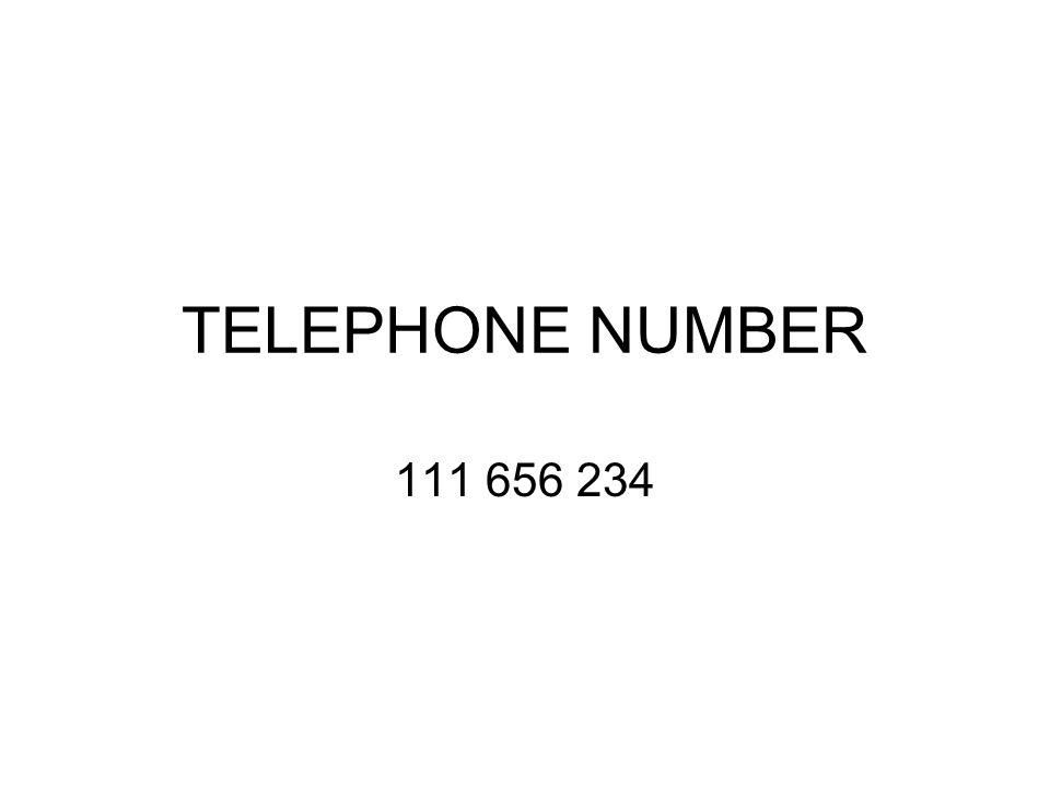 TELEPHONE NUMBER 111 656 234