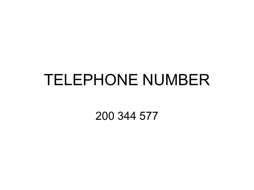 TELEPHONE NUMBER 200 344 577