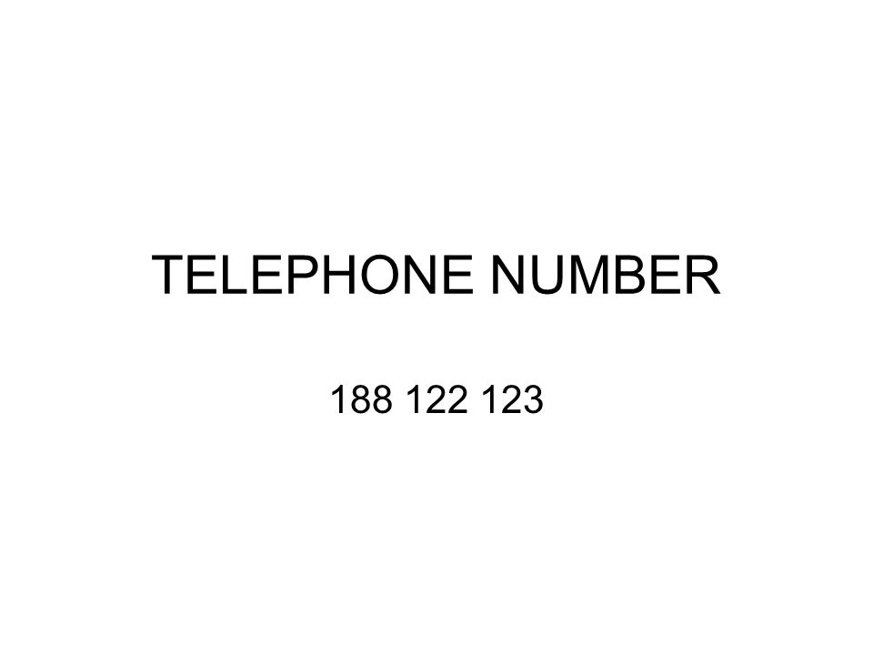 TELEPHONE NUMBER 188 122 123