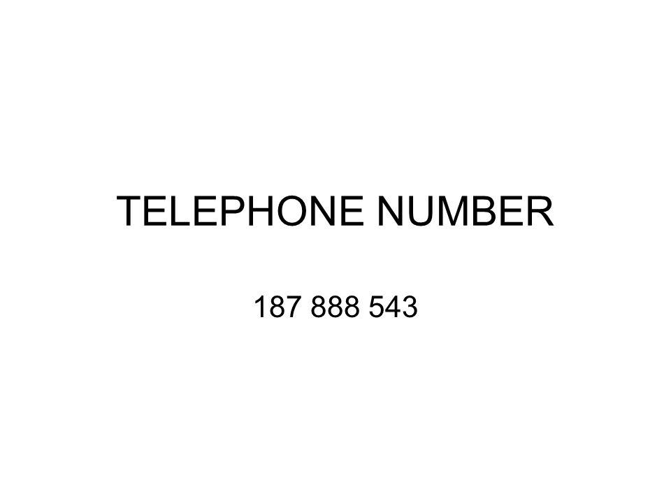 TELEPHONE NUMBER 187 888 543