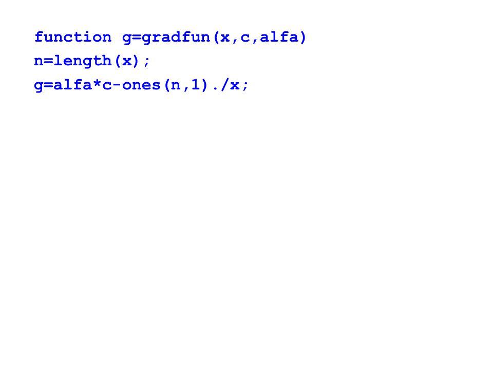 function g=gradfun(x,c,alfa) n=length(x); g=alfa*c-ones(n,1)./x;
