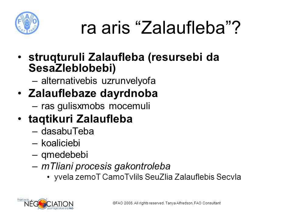 ©FAO 2005. All rights reserved. Tanya Alfredson, FAO Consultant ra aris Zalaufleba .