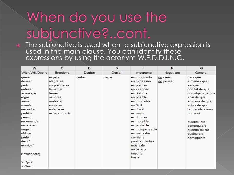  The subjunctive is used when a subjunctive expression is used in the main clause.